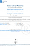 ISO 14001, ISO 9001, OHSAS 18001 certificates by LRQA for Allied International UK
